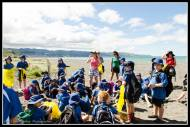 Kahutara School joined the fun and cleaning the beach.